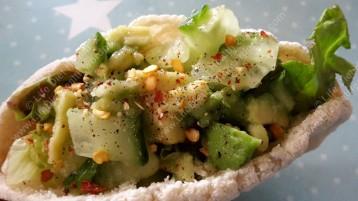Chili avocado stuffed gluten free pitta