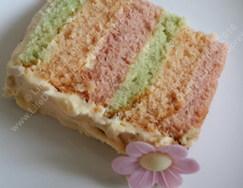 Three coloured sponges for Mums cake.