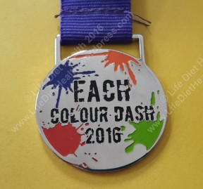 A medal for runners completing the 5km run.