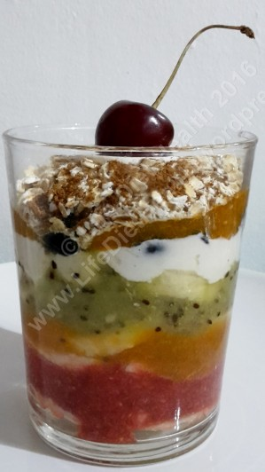 Colourful raw fruit lasagne