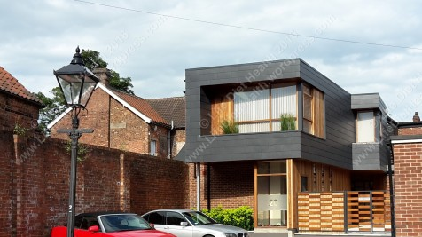 Modern house amongst historical Lincoln