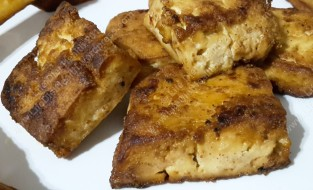 Crispy marinated tofu. Yum!