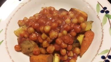 Served over roasted vegetables