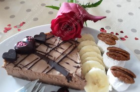 Coconut yogurt, banana and raw choc nut cheesecake