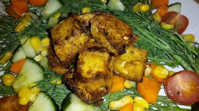 Pan fried tofu cubes