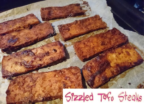 Seriously sizzled umami tofu steaks