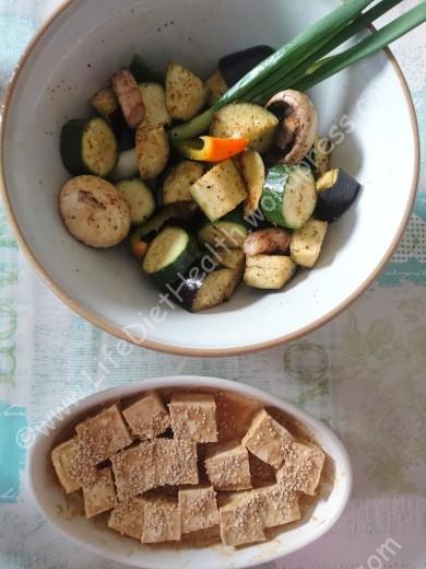Seasoned vegetables & marinated tofu